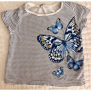 H&M Shirts & Tops - H&M Striped Butterfly T-Shirt toddler 2-4 years